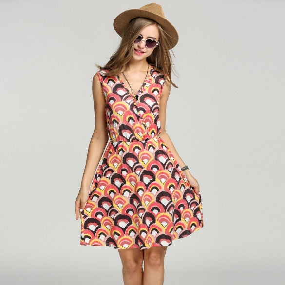 Casual Women V-Neck Print Sundress Sleeveless A-Line Dress