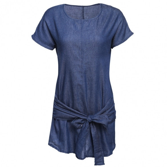 Women Fashion Batwing Short Sleeve Solid Denim Style A-Line Short Tie Waist Dress