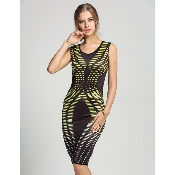 New Women Sleeveless Pencil Dress V-Neck Print Bodycon Stretch Package Hip Party Dress