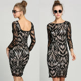 Fashion Sexy Women Long Sleeve Lace Bodycon Bandage Evening Party Pencil Dress