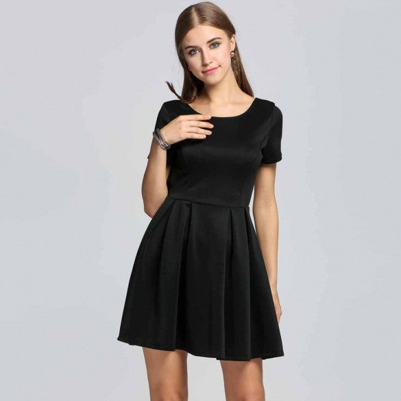Sexy Women Short Sleeve Backless Solid Cocktail Pleated Skater Dress