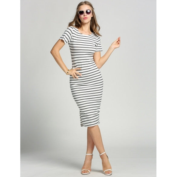 Fashion Women Short Sleeve Knitted Striped Bodycon Side Slit Midi Dress