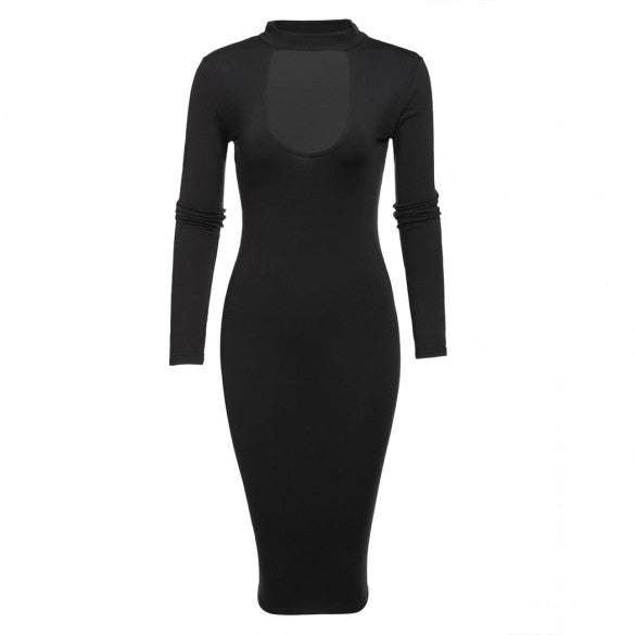 Women Fashion Sexy Slim Long Sleeve Key Hole Solid Bodycon Pencil Cocktail Evening Party Short Dress
