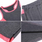 Women Athletic Gym Yoga Clothes Running Fitness Racerback Tank + Mid-Calf Shorts Sport Suits