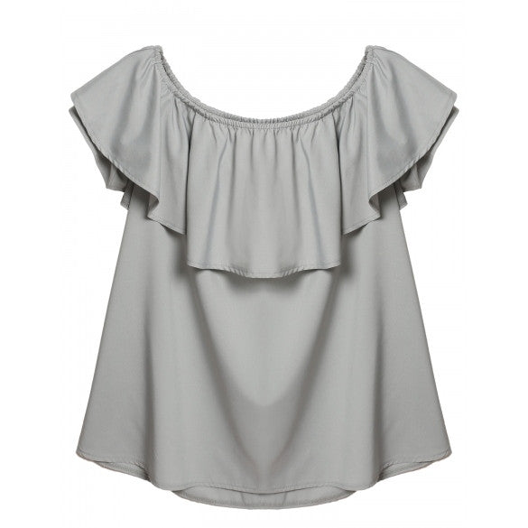 Women Fashion Sexy Strapless Short Sleeve Off Shoulder Backless Ruffle Solid Clubwear Evening Party A-Line Short Mini Dress
