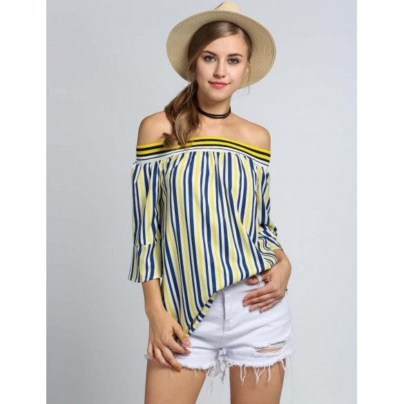 Fashion Women Slash Neck Off Shoulder 3/4 Flare Sleeve Striped Blouse Tops
