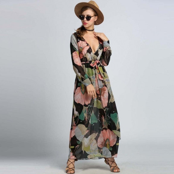 Fashion Women Chiffon Crossover Deep V-Neck Floral Maxi Long Beach Dress