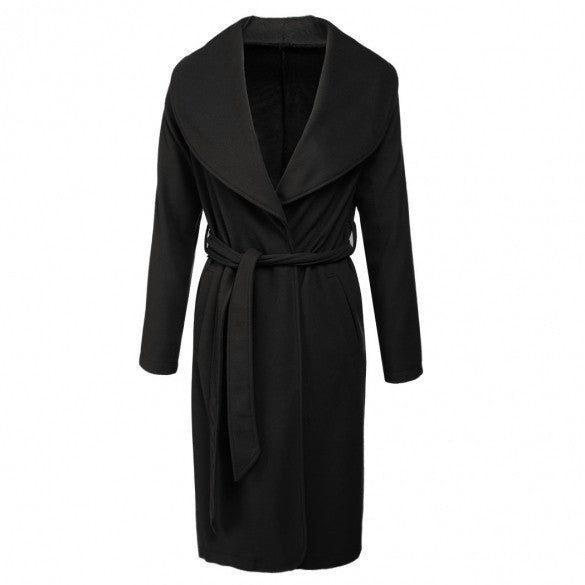 New Fashion Women Turn Down Collar Long Sleeve Wool Coat Front Open Solid Outwear Long Overcoat With Belt