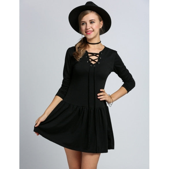 Casual Women V-Neck Long Sleeve Low Waist Pleated Solid Dress