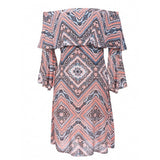Bohemian Style Women's Off Shoulder Flare Sleeve Ruffles Print Casual Dress