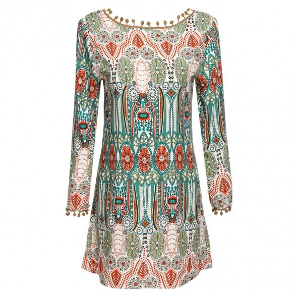 New Women Long Sleeve Vintage Style Shift Dress Multi-colors Tassel Decor Loose Casual Beach Mini Dress