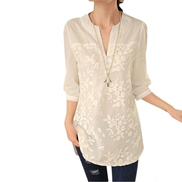 Fashion Women's Notch Neck 3/4 Sleeve Flower Embroidery Long Blouse Tops