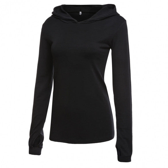 Casual Women Hooded Long Sleeve Pullover Solid Slim Hoodie Sweatshirt