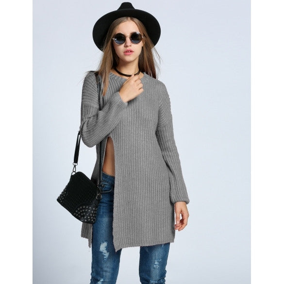 Fashion Women's O-Neck Drop-Shoulder Sleeve Solid Loose Side Slit Long Sweater