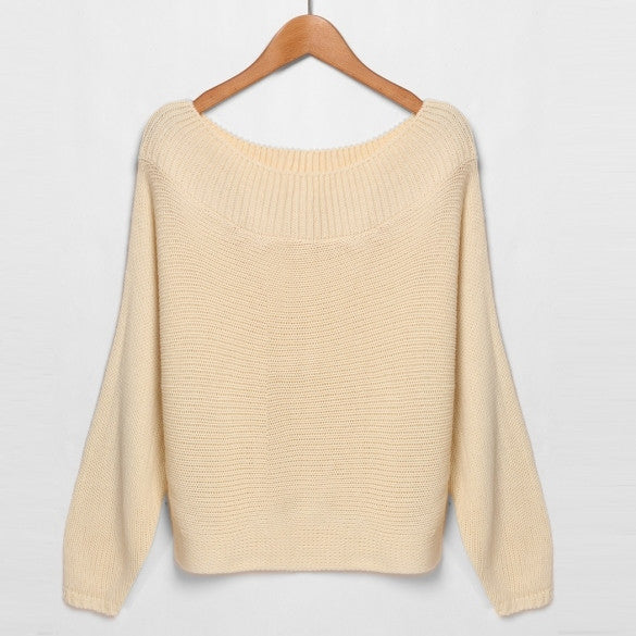 Fashion Women's O-Neck/Off Shoulder Batwing Sleeve Pullover Solid Sweater