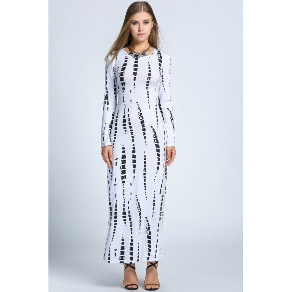 Fashion Women O-Neck Long Sleeve Back Slit Print Slim Fit Maxi Long Dress