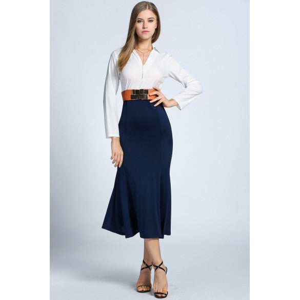 Fashion Women V-Neck Long Sleeve Patchwork Slim Fit Maxi Long Dress