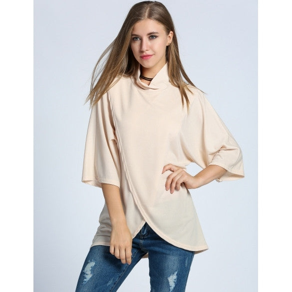 Women Turtle Neck Batwing Sleeve Slit Front Asymmetrical Hem Blouse Tops
