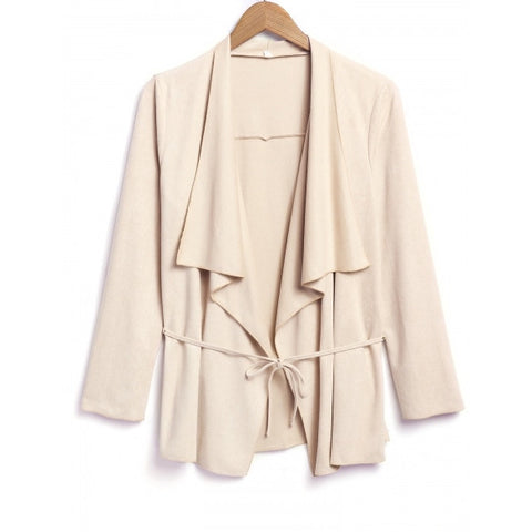 Fashion Women Faux Suede Lapel Casual Lace Up Belted Cardigan Coat