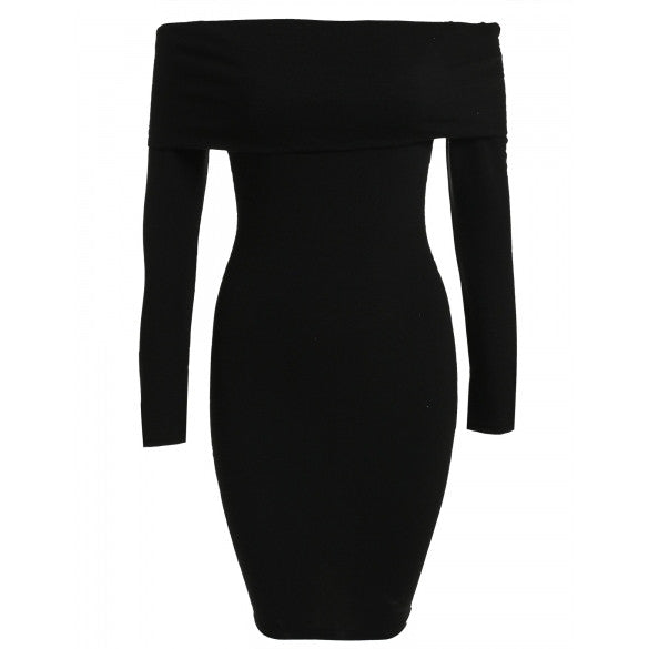 New Fashion Women Sexy Off Shoulder Bodycon Slim Long Sleeve Party Dress