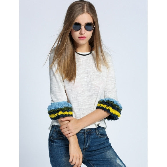 Fashion Women Knitted O-Neck Tassel 3/4 Sleeve Casual Crop Tops