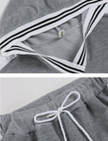 Women Casual Hooded Long Sleeve Patchwork Hoodie + Pants Sport Suits Tracksuits