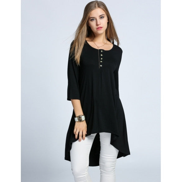 Women's O-Neck 3/4 Sleeve High Low Asymmetrical Hem Solid Casual Tunic Dress