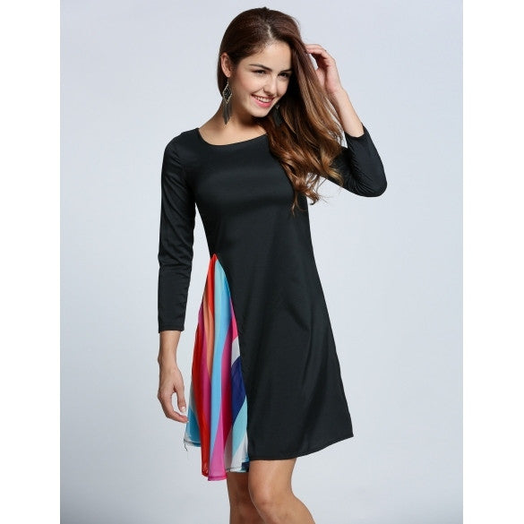 Fashion Women's 3/4 Sleeve O-Neck Draped A-Line Cocktail Dress