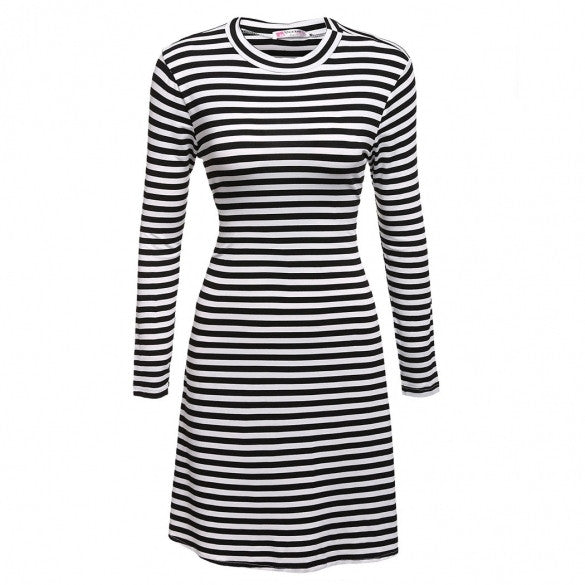 Women Fashion Casual Slim Round Neck Long Sleeve Striped A-Line Short Dress