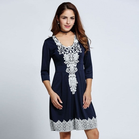 Women Fashion Sexy 3/4 Sleeve Hight Waist Crochet Lace Patchwork Evening Party Cocktail A-Line Short Dress