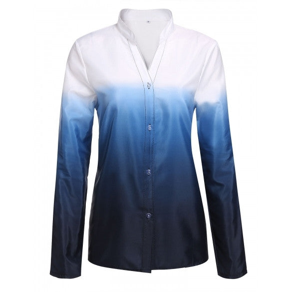 Fashion Women Stand Neck Long Sleeve Gradient Button Down Shirt Tops