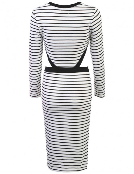 New Fashion Women Long Sleeve Bodycon Dress Hollow Package Hip Striped Party Slim Calf Dress