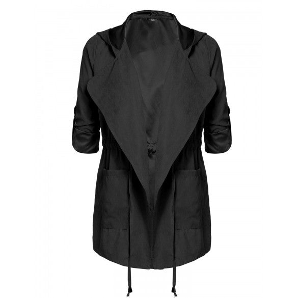 Women Casual Hooded Roll Up Sleeve Drawstring Waist Solid Jacket