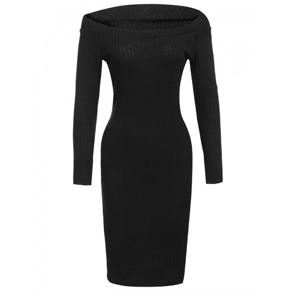 Sexy Off Shoulder Long Sleeve Solid Bodycon Pencil Sweater Dress