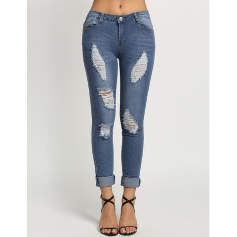 Mid Waisted Casual Holes Slim Pencil Jeans