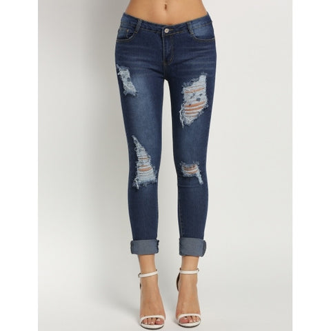 Slim Mid Waisted Casual Holes Skinny Pencil Jeans