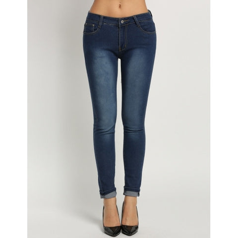 Classic Slim Casual Mid Waisted Skinny Blue Pencil Jeans