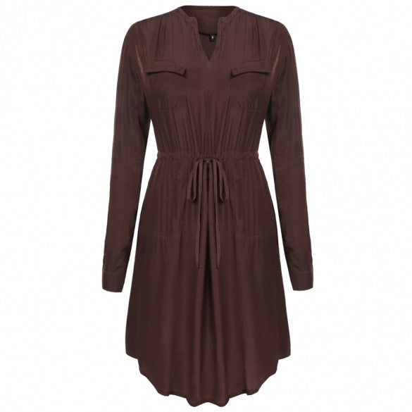 Women V-Neck Roll Up Long Sleeve Drawstring Waist Casual Dress With Pockets