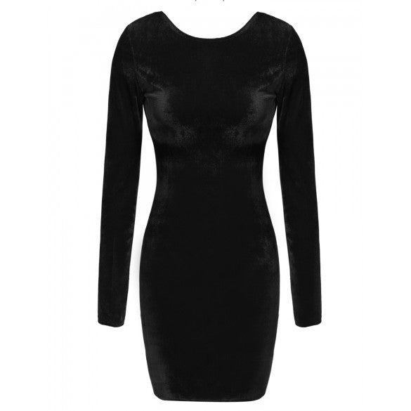 Sexy Women O-Neck Long Sleeve Backless Bodycon Mini Pencil Dress