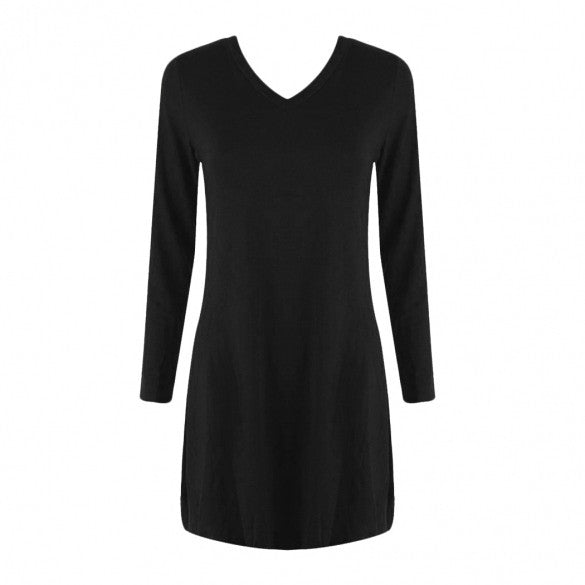 Women Fashion Casual Slim V Neck Long Sleeve Solid Asymmetrical Hem A-Line Short Dress