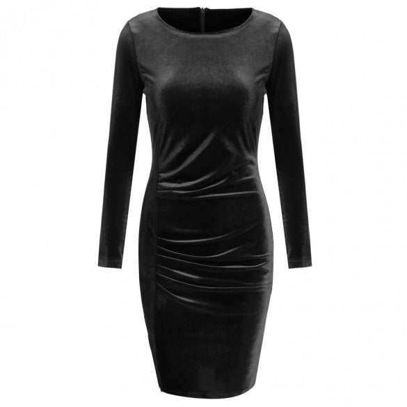 New Fashion Women Casual Lint O-Neck Long Sleeve Solid Pleated Dress