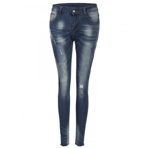 New Women Fashion Slim Mid Waist Casual Holes Skinny Pencil Jeans