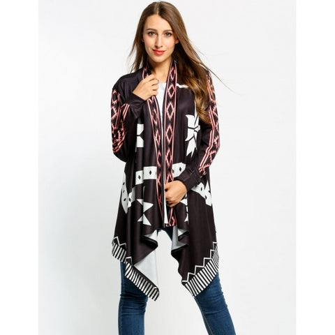 Casual Collarless Long Sleeve Print Loose Knit Cardigan