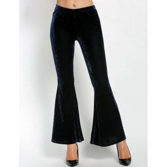 New Women Fashion Loose Solid Elastic Waist Casual Full Length Horn Trousers Pants