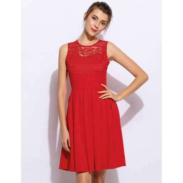 Women Fashion Elegant Sleeveless High Waist Hollow Lace Patchwork A-Line Swing Party Short Dress