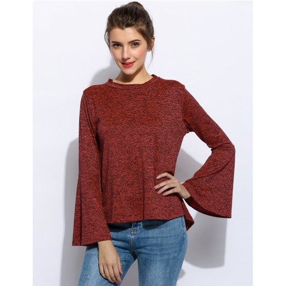 Fashion Women O-Neck Flare Sleeve Open Back Cross Blouse Tops