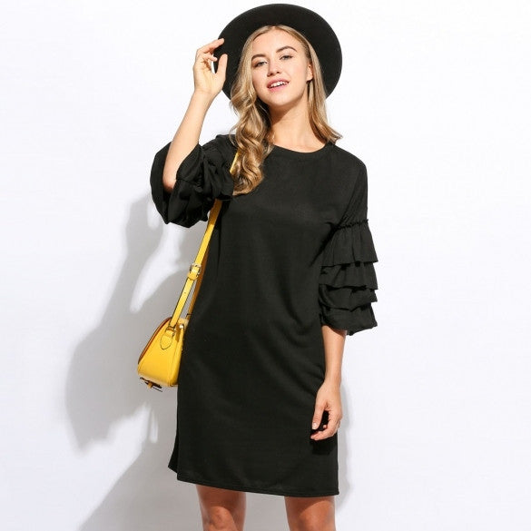 Women Fashion European Causal Style Loose Fit 3/4 Ruffle Sleeve Straight Mini Dress