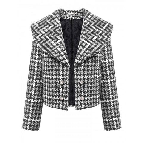 Fashion Women Shawl Collar Long Sleeve Plaid Short Double-breasted Quilted Coat