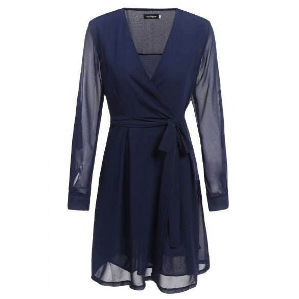 Casual Women Long Sleeve V Neck Side Zipper Solid Chiffon Wrap A Line Dress With Belt