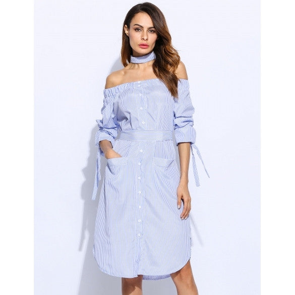 Women Long Sleeve Off-the-Shoulder Stripes Front Pockets Casual Dress With Belt